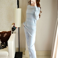 2018 Tracksuits New Arrival Real Wool Full Winter Cashmere Suit Female High end Sexy Hollow Knitting Fashion Two piece Pants