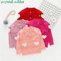 WYNNE GADIS Autumn Winter Baby Girls Loving Heart Princess Bow Long Sleeve Knitwear Sweater Kids Cardigans