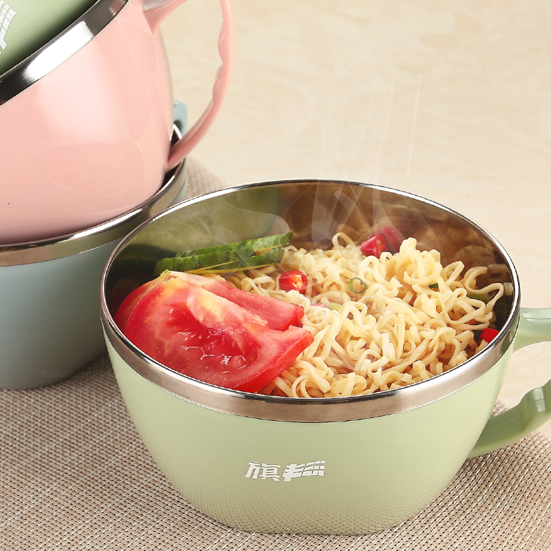 QF304 stainless steel rainbow noodle bowl With cover large bowl Student lunch box li riceses leave with handle hot large capacit
