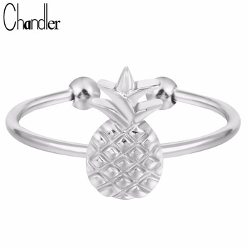 40% Off Silver Gold Plated Pineapple Ring Justable Alloy Metal Fruit Jewelry For Women Wedding Band Party Luxury Drop Shipping
