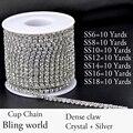 10 Yardas Densify Rhinestone Cadena de la Taza Con Strass de Cristal Brillante Para La Ropa Vestido de Novia Y DIY Desig 7 Tamaños Disponibles