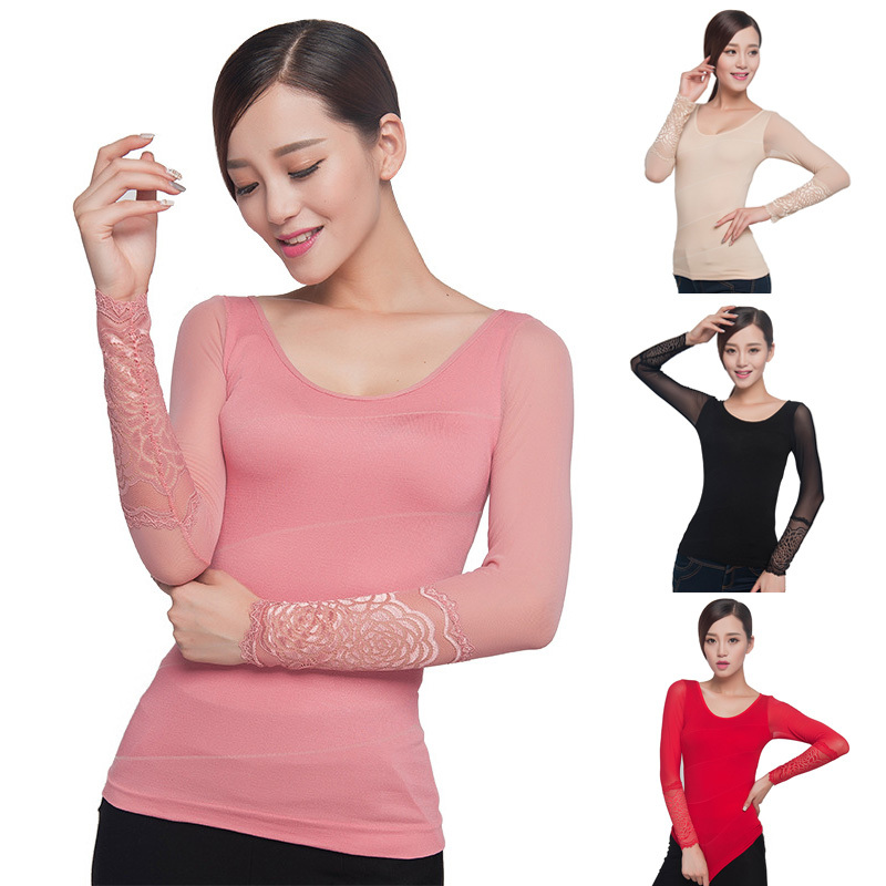 Women\'s Smooth Lace O-neck Seamless Body Shaper Un...