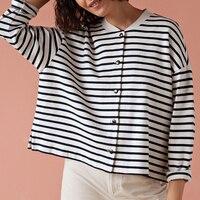 Women Jacket 2019 Spring black white Striped Coat
