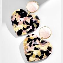 2019 Fashion ZA Big Heart Shape Acrylic Resin Drop Earrings For Women Multicolor Geometry Charm Party Statement Jewelry