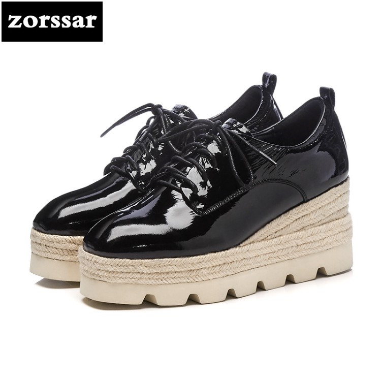 {Zorssar} 2018 Spring New Fashion casual Lace-up womens shoes pumps height increasing platform Wedges shoes women High heels dedo music gifts mg 308 pure handmade rotating guitar music box blue