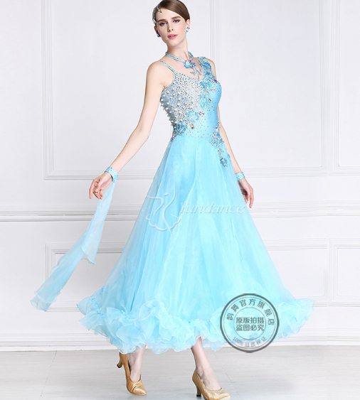 customize light blue Waltz tango Fox trot Quick step Ballroom Modern competition Dance Dress bead long sleeve for black pool