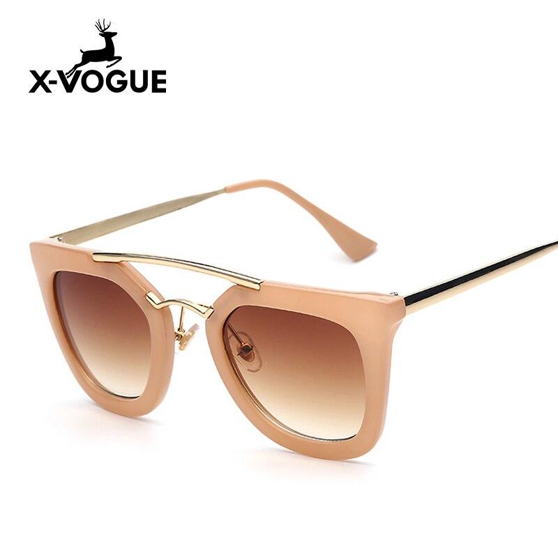 X-VOGUE Brand Designer Retro Vintage Sunglasses Women <font><b>Nude</b></font> Color Double Classic Woman Retro Top Quality <font><b>Sun</b></font> Glasses <font><b>Female</b></font> UV400