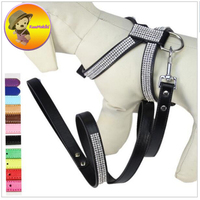 Pu Leather Kim Cương Rhinestone con chó Cưng cổ khai thác của leash Traction ở lưng, Ngực pet Harness Chó Walking Lead áo ghi lê