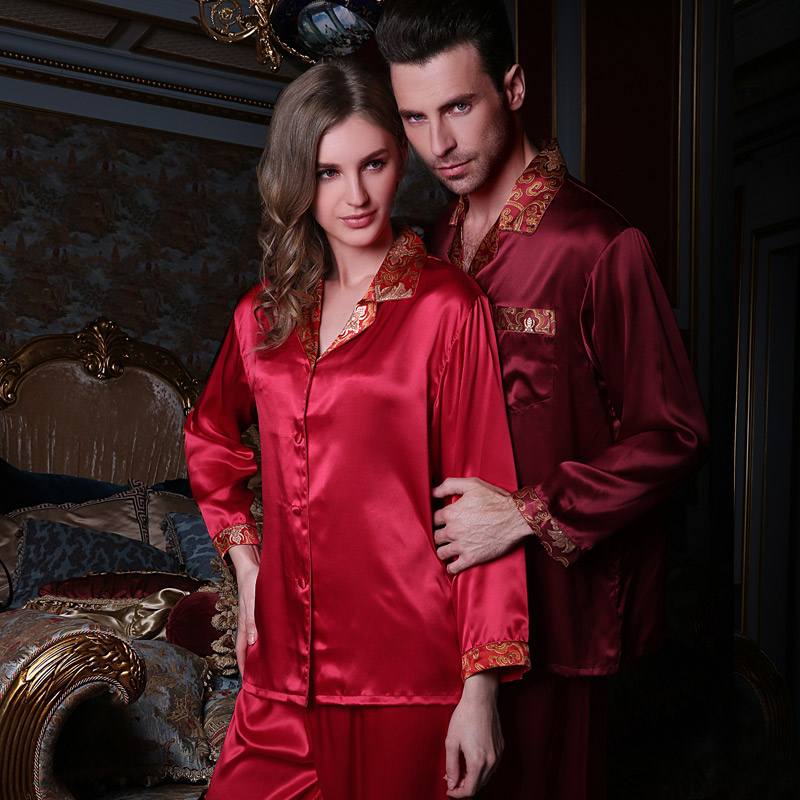 Fast Shipping High Grade 100% Silk For Lovers Sleepwear Man Women Couple Long-Sleeve Pajama Sets For Wedding Gift