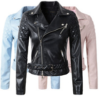 2016 New Fashion Women Faux Leather Jacket Ladies Motorcycle PU Blue Pink Black Long Sleeve Coat