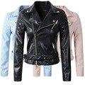 2016 Новые Моды для Женщин Искусственной Кожи Куртка Женская Мотоцикл PU Синий Розовый Черный Длинный Рукав Пальто с Поясом