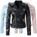 2016 New Fashion Women Faux Leather Jacket Ladies Motorcycle PU Blue Pink Black Long Sleeve Coat with Belt