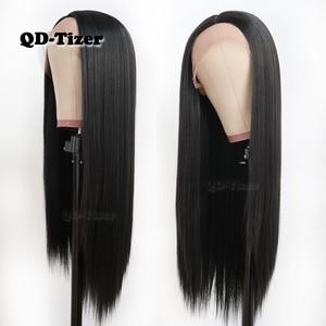 Image 3 - QD Tizer שיער ארוך ישר שיער תחרה פאות טבעי רך שיער Glueless חום עמיד סינטטי תחרה קדמית שחור נשים