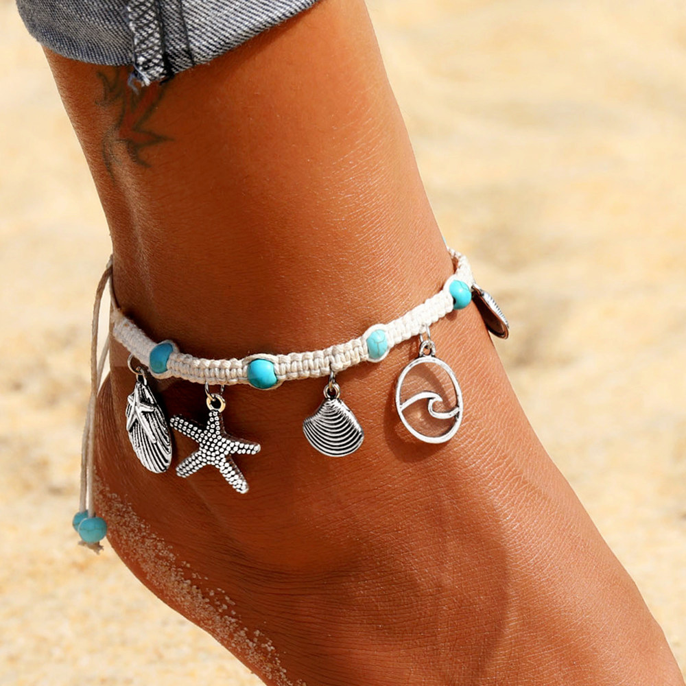 Bohemian Starfish Shell Stone Anklets For Women Vintage Handmade Wave Anklet Bracelet on Leg Chain Summer Beach Ocean Jewelry