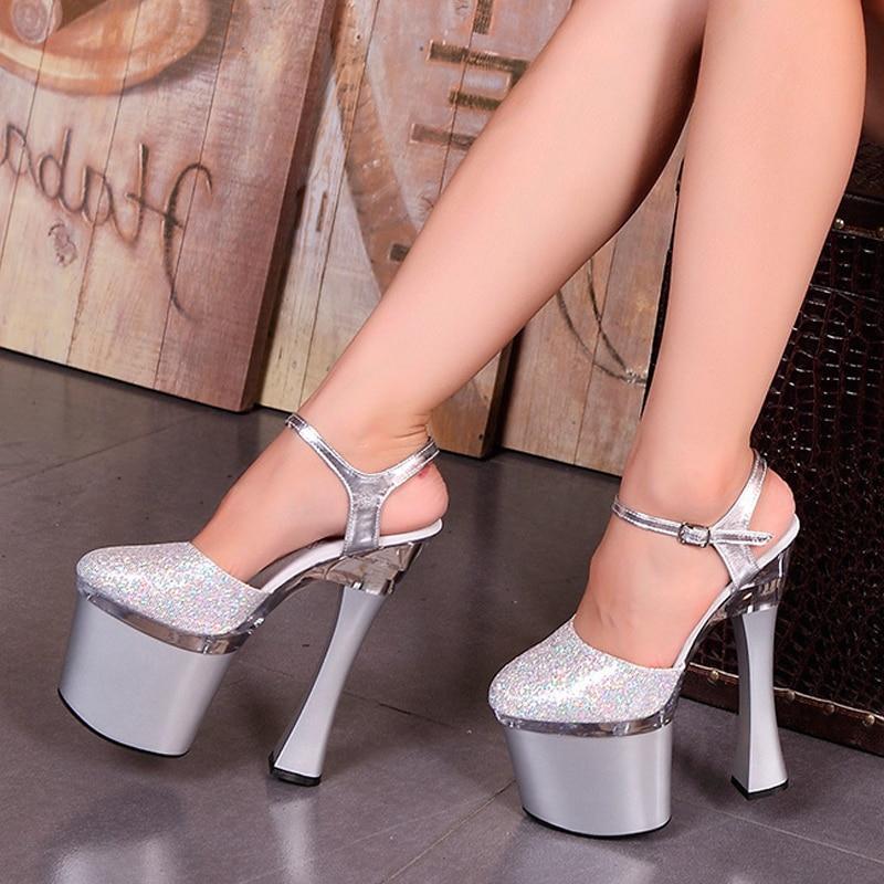 Mujer Sandalias Zapatos Lentejuelas Cm Peep Negro Plataforma Fino 18 Tacones Altos Toe Vestido Boda Sexy Novia Plata De plata HBBwdf
