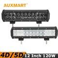 "Auxmart CREE Chips 12"" 120W 4D/5D LED Light Bar Combo Beam Car Light Bar Offroad 12V 24V Truck ATV UTV 4WD Tractor 4X4"