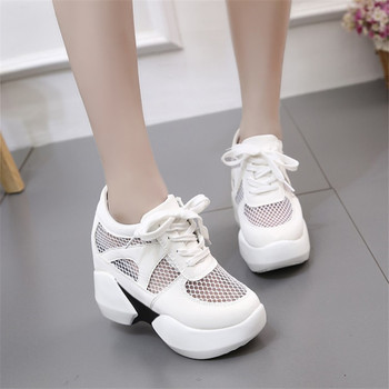 COOTELILI Women Sneakers Platform Inside Increased Casual Summer Shoes Woman Pumps Mesh Lace up Creepers Women Shoes Wedges