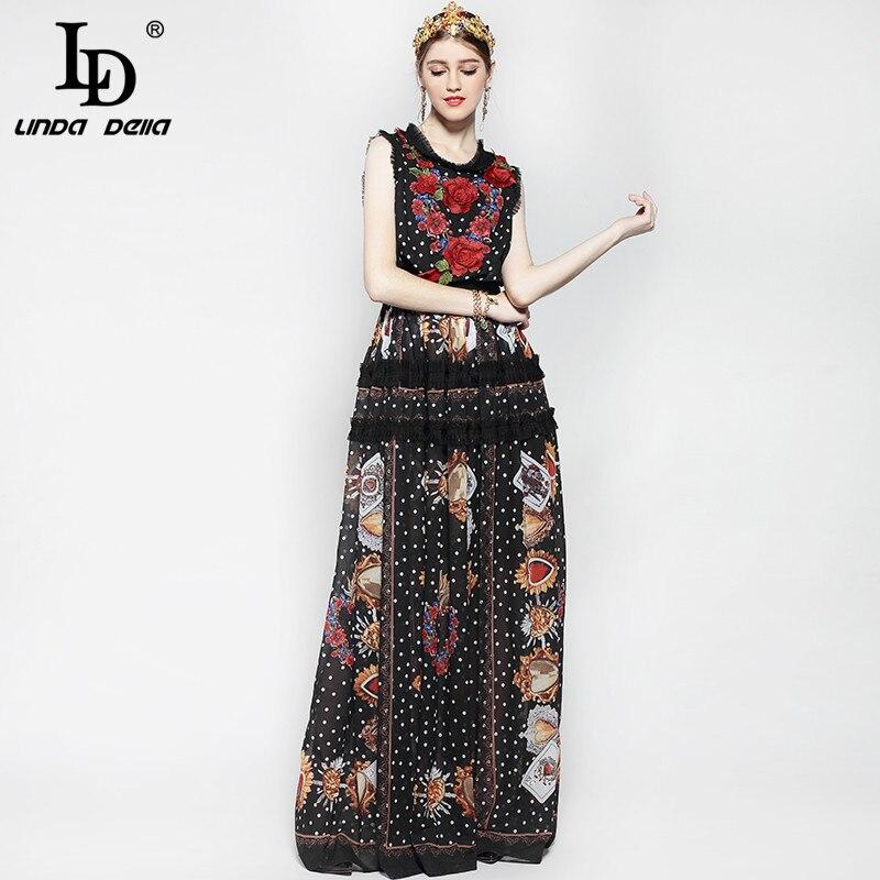 Nouveau 2019 mode piste Maxi robe femmes longueur de plancher sans manches élégant Rose fleur imprimer Floral broderie Vintage longue robe - 3