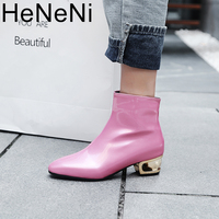 Women Boots Shiny Patent Leather Autumn Winter Shoes Woman Spuare Toe Block Heels Peluche Ankle Boots Female Botas Mujer
