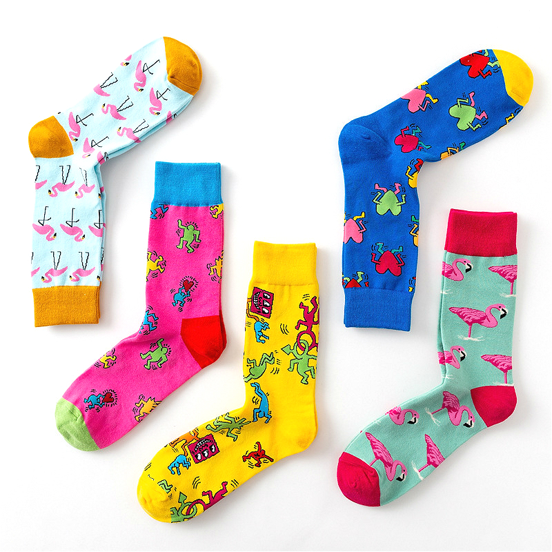 New Women's Personality Fun Animal Pattern Doodle Cartoon Flamingo Funny Fashion Cotton Socks 1 Pairs