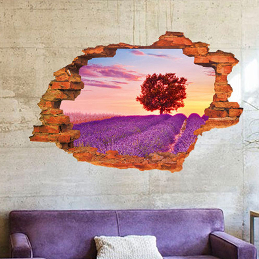 lavender Hanada 3D stickers Home decoration wallpaper Home Decorations artistic style wall poster Bedroom room