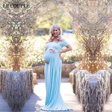 Slash Neck Stretchy Cotton Maternity Photography Props Dress
