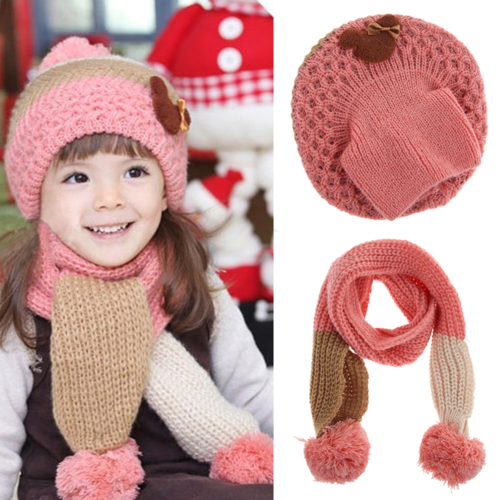 Baby Hat Scarf Set 2017 Winter Warm Hats for Girls Kids Children Knit Baby Children's Hat Caps with Double Ball Scarf fashion wool knit baby hat scarf set with fox fur balls autumn winter children hat scarf kids caps for girls boys warm hats set