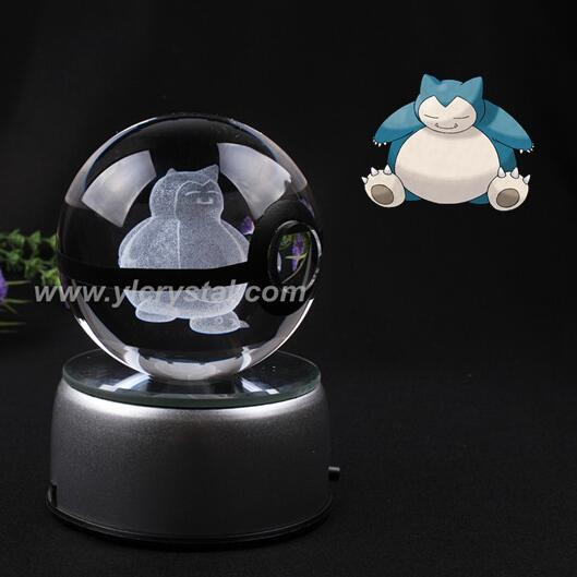 New Style snorlax Pokemon Ball With Engraving Crystal Ball For Gift With Gift Box