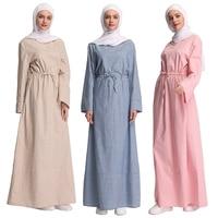 Fashion Pure Color Turkish Muslim Women Stripe Dress Islamic Lady Clothing Middle East Dubai Abaya Dresses Robe Musulmane Kaftan