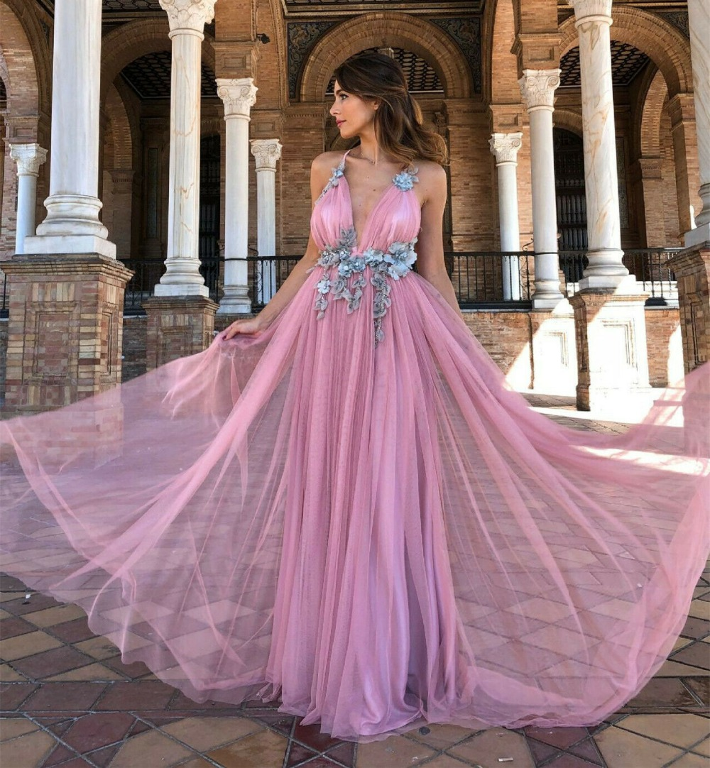 Sexy V Neck Evening wedding   dress   Pink Bridesmaid backless   Prom     dress   Long Skirt
