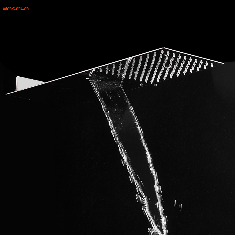 BAKALA Rectangle Bathroom Stainless Steel Rain Shower Head Rainfall Bath Shower Chrome Top Sprayer HighPressure Rainfall