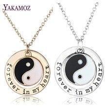 Ying Yang Письмо «Навсегда в моем сердце» Кулон Ожерелья Черный Белый Тайцзи Багуа Ожерелье Для Любителей Пар Лучший друг Подарок