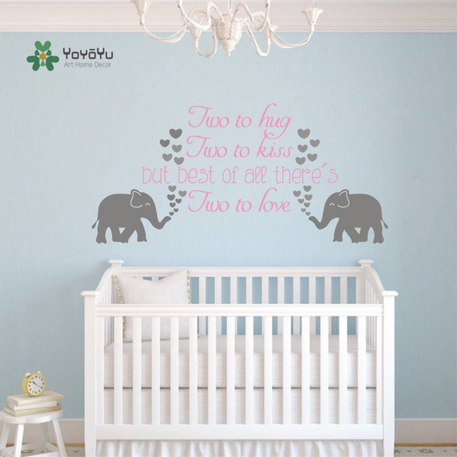 Elephant Twin Nursery Wall Art Nursery Room Decor For Twins: YOYOYU Art Wall Decal Nursery Family Elephant Twins Quotes
