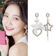 Creative Japanese And Korean Simple Bow Heart-Shaped Earrings Star Pendant Fashion Asymmetric Ladies Earing Jewelry