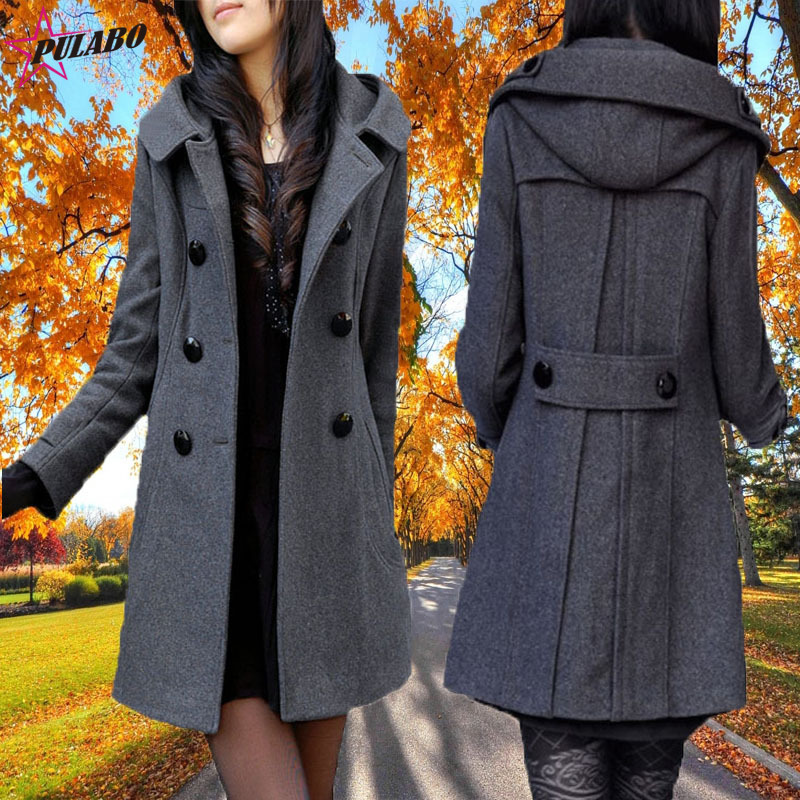15f9bbb442a PULABO Women s Winter Double Breasted Wool Blend Long Pea Coat with Hood  Woman Coats Winter 2018 Abrigos Mujer Invierno Female