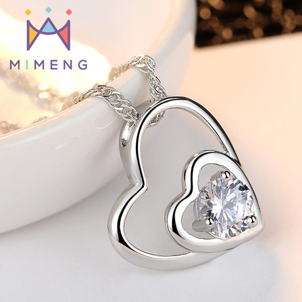 MiMeng Classic heart-shaped pendant Necklace For Women Arrows affiliated CZ Double Heart Pendant Necklace For Girl Gift M30