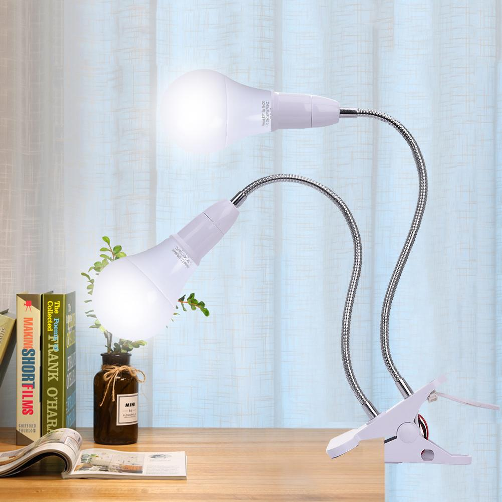 E27 LED Clip-on Desk Light Work Table Lamp Holder Flexible Neck double head Led Table light plant grow lights with US/EU Plug пила elitech эп 2200 16