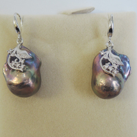 100% nature freshwater pearl earring with 925 silver hook AA baroque Pearl,15 25 mm big baroque pearl earring