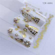 Beautiful Gold Nail Stickers Christmas Decals Letter Flower Adhesive Decorations for Art Slider Sets Tools