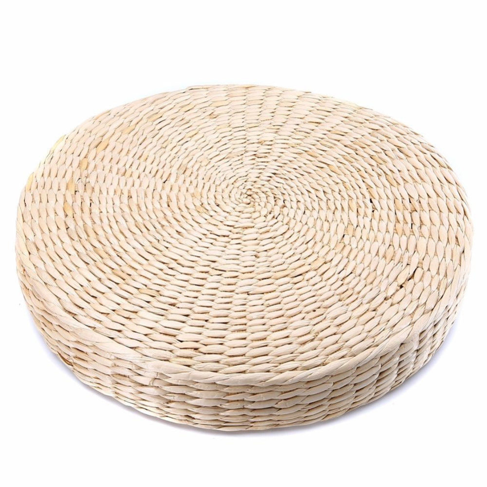 Pad Beige Straw Weave Grass Cushion Mat Handmade Outdoor Round Chair Yoga Seat Cushion Cushion Pad Dining Room Furniture Garden