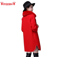 2017 Bayan Kaban Autumn Winter New Solid Color Large Size Coat Thickening Mid-long Section Collar Knit Cardigan Keep Warm Ll057
