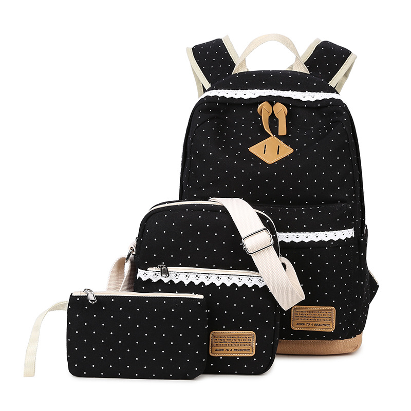 Cute Canvas Backpacks For Girls Sturdy School Bags Polka Dot Girls School Backpacks Set ...