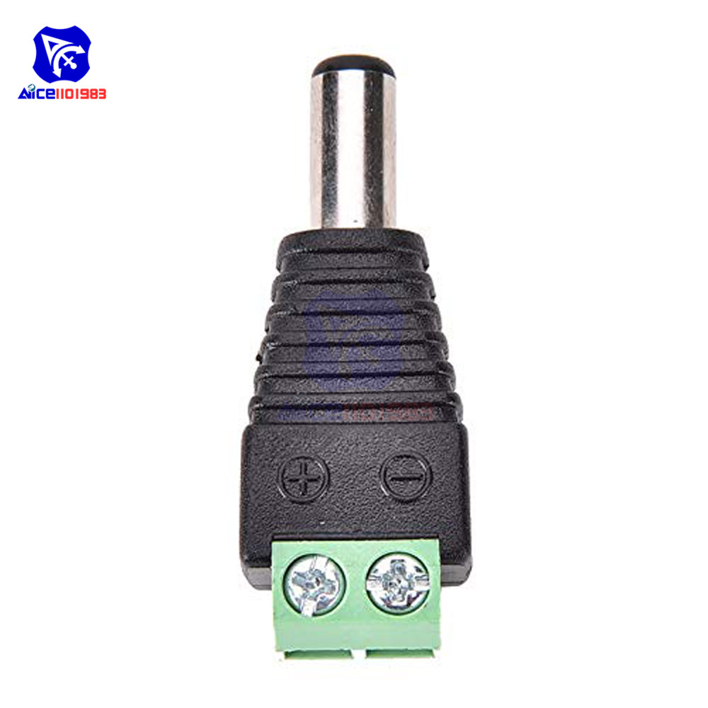 Female 2.5x5.5mm DC Power Plug Jack Adapter Wire Connector for CCTV 10pcs Male