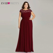 Long Evening Dresses Ever Pretty 2019 New Simple Dark Green Chiffon Plus Size O-Neck Appliques Lace A-Line Formal Party Dress