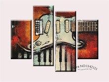 4 Panel Musik ArtWall Malerei Modernen Home Dekore Gitarre Pop Kunst Bilder Dekoration Auf Leinwand Malerei Gedruckt h/338