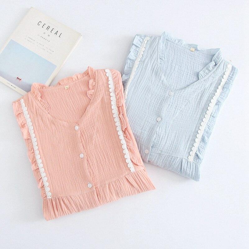 New Spring and Summer 100% Cotton Crepe Maternity Nursing   Pajamas     Set   Womens Long Sleeves Feeding Clothes Plus Size Sleepwear