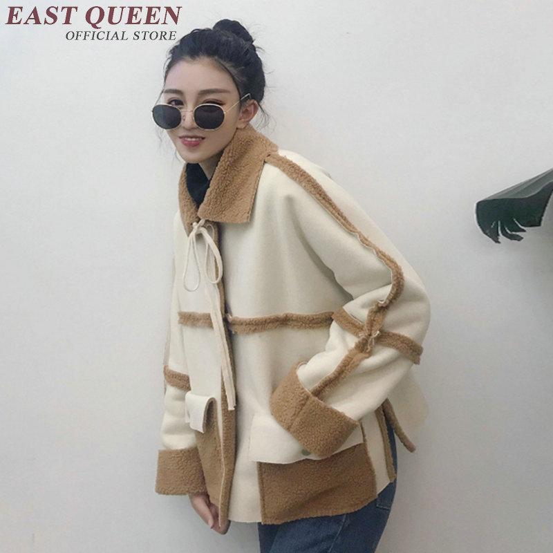 Women 2018 short outwear jackets thick loose winter women coat jacket single breasted turn-down collar spliced coats DD263 F