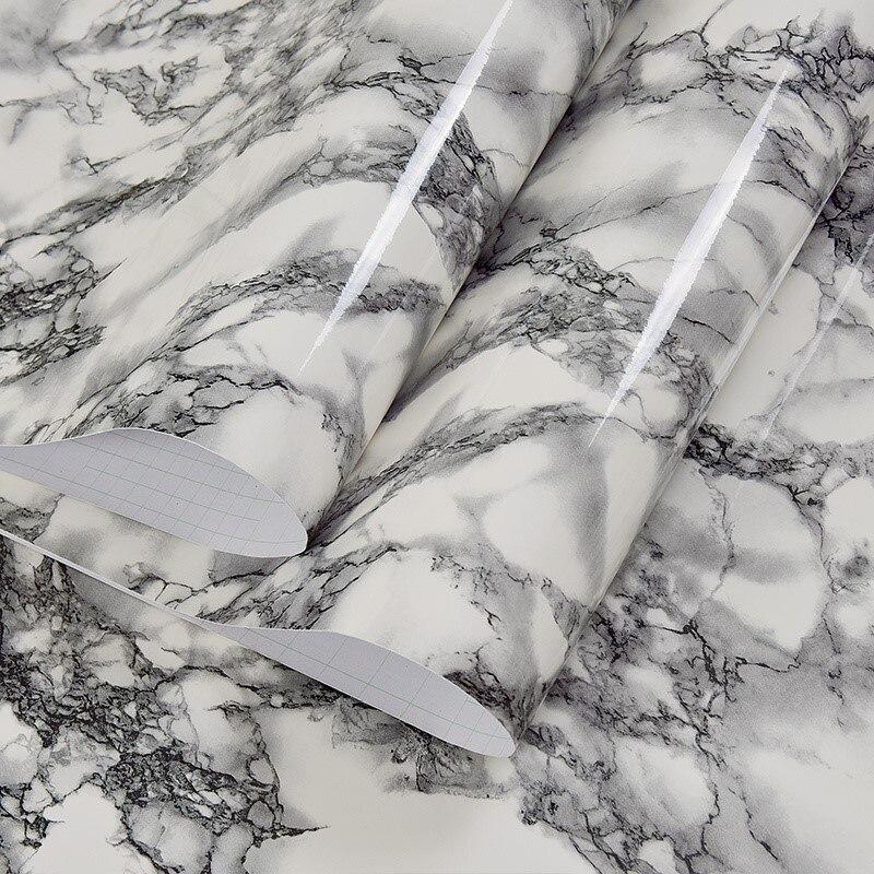 60cm Width Black White Marble Wallpaper Mural PVC Waterproof Vinyl Self-adhesive Wall Paper Kitchen Living Room Desktop Stickers
