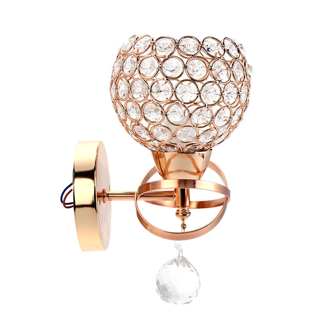 Us 23 34 29 Off Gold Color Indoor Decorative Lighting E14 Single Base Crystal Pendant Lights Wall Lamp Bedside Bedroom Stair Modern Style In