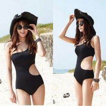Sexy Womens One Shoulder One-Piece Suits Swimsuit Padded Bodycon Bikini Mesh Swim Suit Hollow Solid Black Beachwear